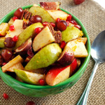 A fall fruit salad recipe bursting with the season's best-- pomegranates, figs, pears, grapes, apples, pecans, and craisins. All tossed with the most delicious, cozy maple cinnamon dressing. Perfect for Thanksgiving! ♡ passthechallah.com