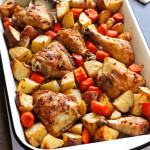 Onion Roasted Chicken- A classic roasted chicken recipe, because nothing tastes better than perfectly roasted chicken. With just chicken, carrots, potatoes, and onion soup mix, it's so easy (yet so delicious!) that it feels like cheating. passthechallah.com