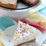 No-Bake Funfetti Cheesecake- This no-bake funfetti cheesecake recipe is easy to prepare and so delicious! What can go wrong with a perfect cheesecake loaded with colorful sprinkles?! passthechallah.com
