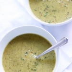 Dairy Free Zucchini Soup- This dairy free zucchini soup is so creamy and dreamy, it doesn't need any cream! Simple ingredients let the gorgeous zucchini shine. Such an easy recipe! passthechallah.com